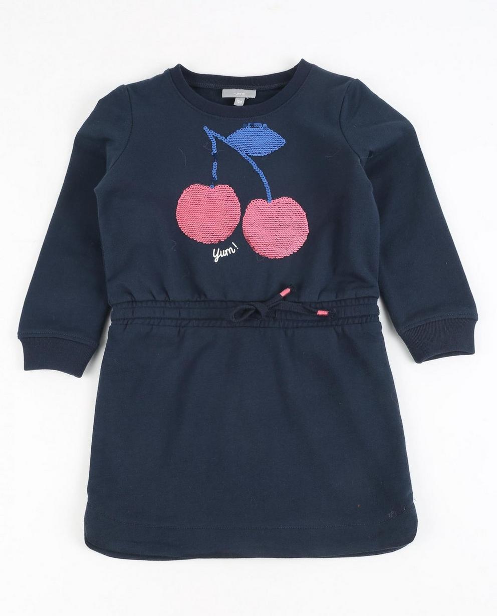 Nachtblaues Sweatkleid - mit Paillettenkirschen - JBC